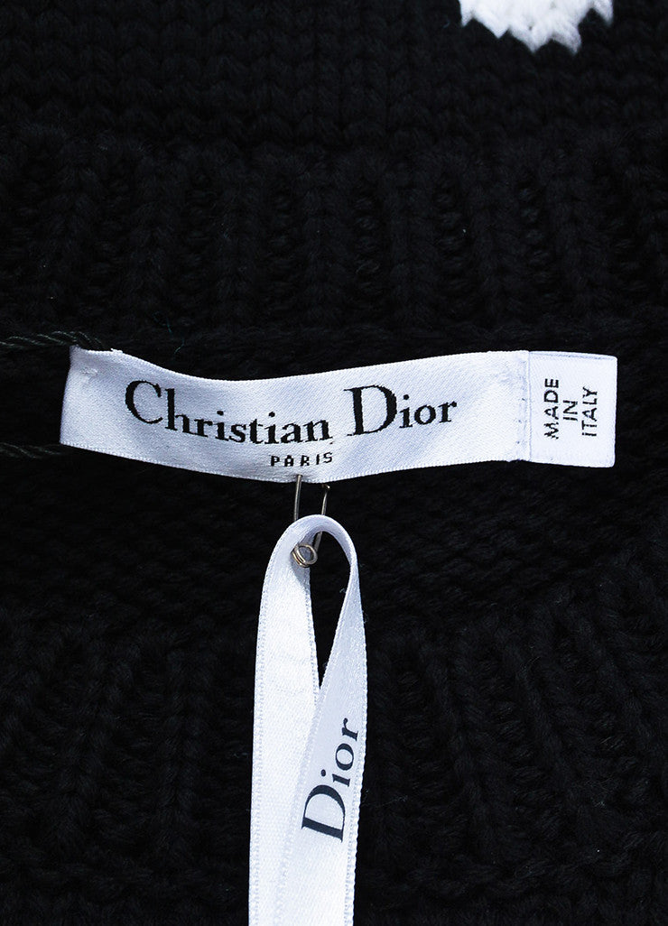 Black and White Christian Dior Floral Cropped Sleeveless Sweater Brand