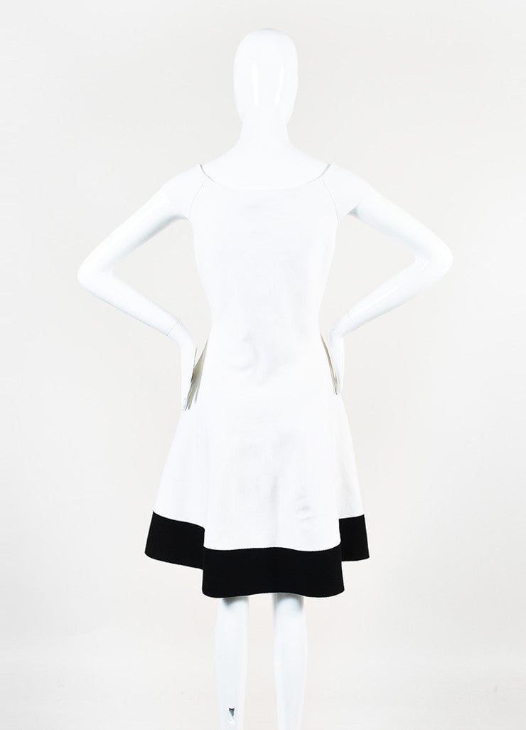 Cream and Black Christian Dior Wool Knit Off Shoulder Fit Flare Dress Backview