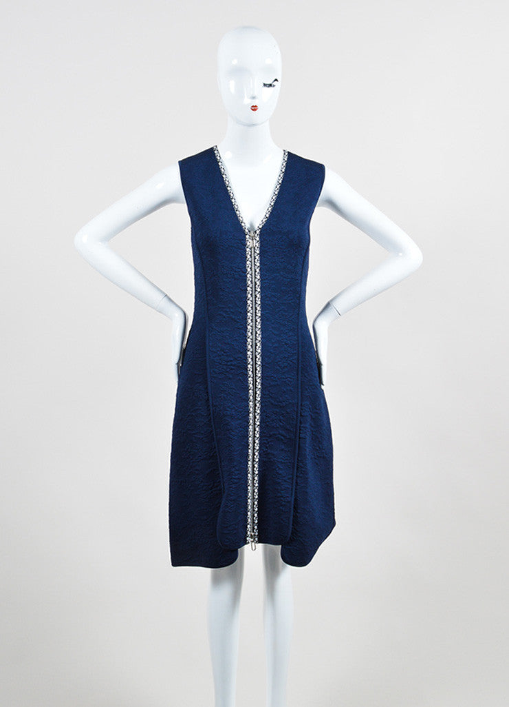 Navy, Black, and White Christian Dior Double Zip Mattelasse Sleeveless Dress Frontview