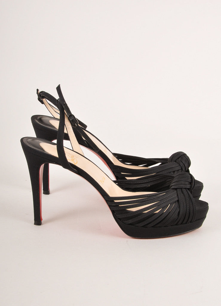 Christian Louboutin Black Strappy Knotted High Heel Evening Sandals Sideview