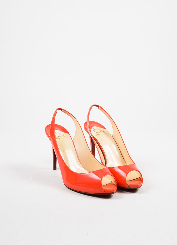 "Christian Louboutin Dark Coral Patent Leather Peep ""Flo Sling"" Pumps Frontview"