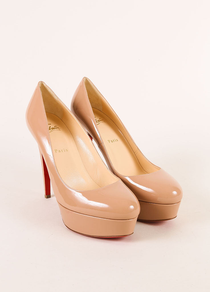 "Christian Louboutin New Nude Patent Leather ""Bianca 120"" Platform Pumps Frontview"