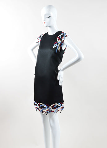 Christopher Kane  Black Multicolor Rope Lace Trim Sleeveless Shift Dress Sideview