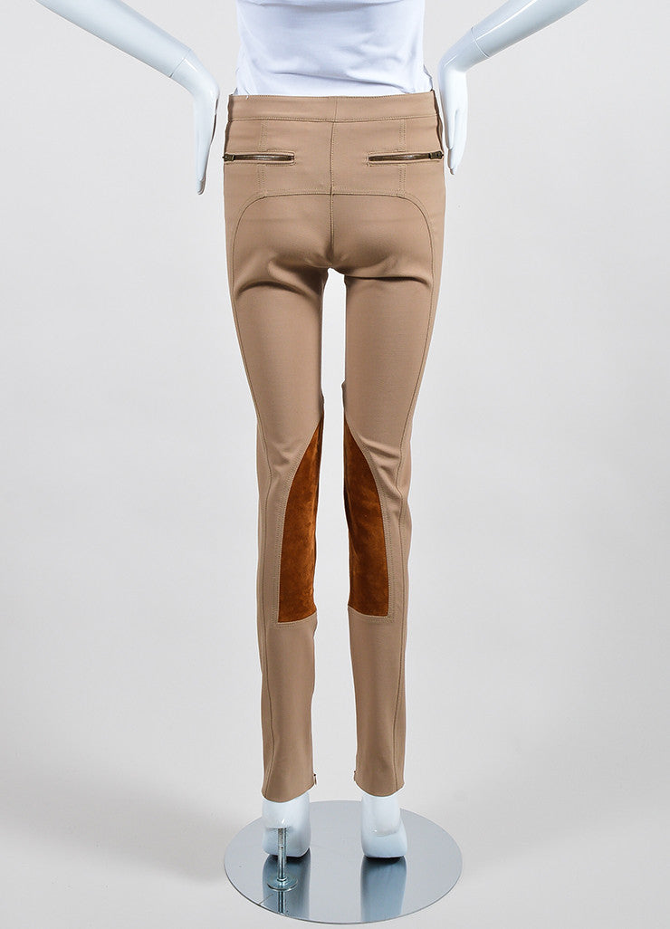 "Tan Derek Lam Camel Wool Suede Panel ""Jodphur"" Riding Pants Backview"