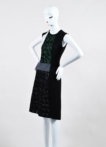 Black and Green Derek Lam Lace Color Block Paneled Sleeveless Dress Sideview