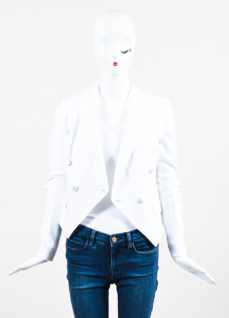 Dolce & Gabbana White Linen Double Breasted Jacket Frontview
