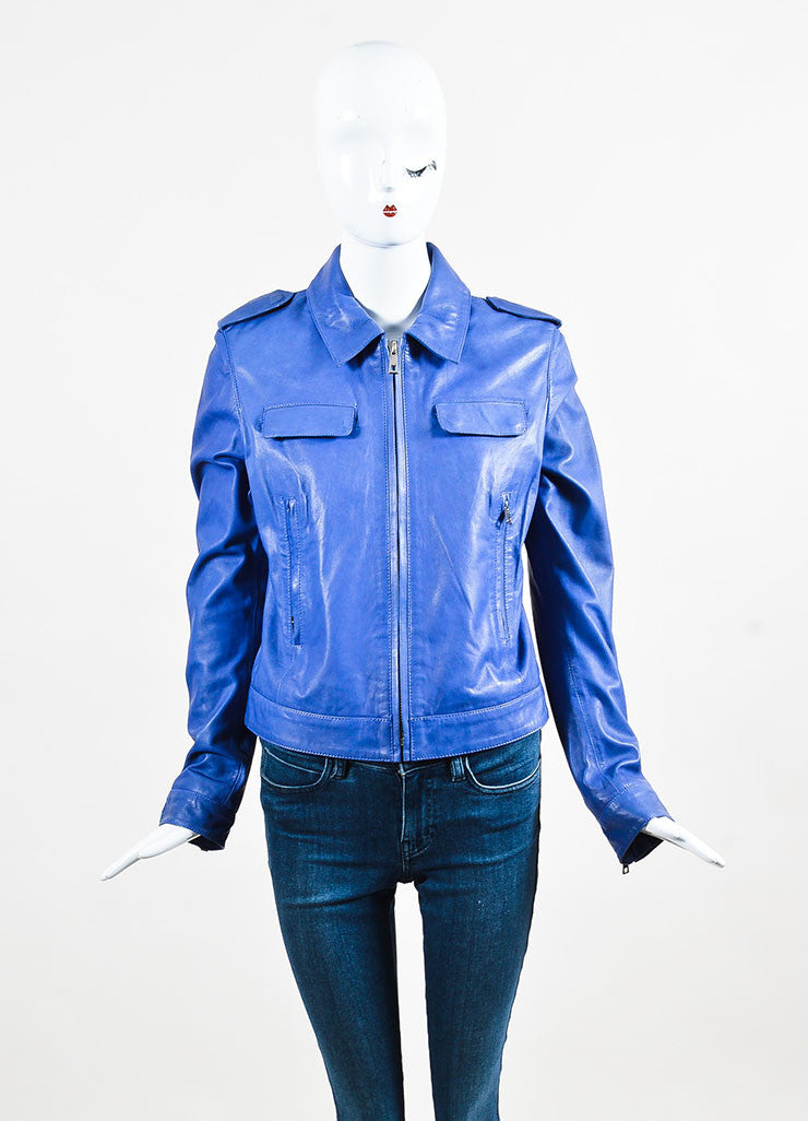 Each x Other Blue & Purple Zipped Leather Jacket front zipped