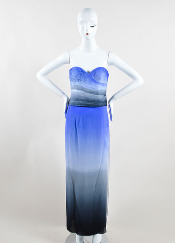 Emanuel Ungaro Blue and Grey Silk Two-Piece Sleeveless Evening Gown Frontview