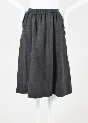 Eskandar Grey Linen Midi Skirt Sideview