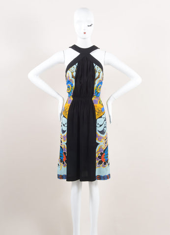 Etro New With Tags Black and Multicolor Ruched Paisley Print Sleeveless Dress Frontview