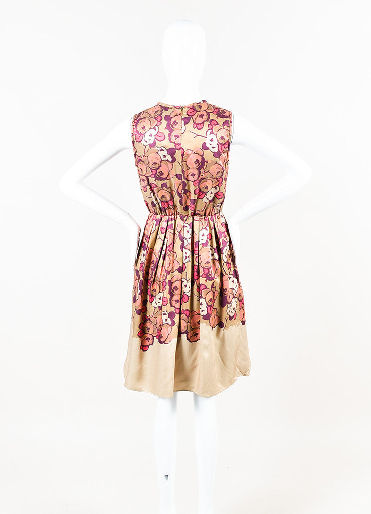 Taupe Pink Purple Etro Floral Print Ruffle Sleeveless Dress Back