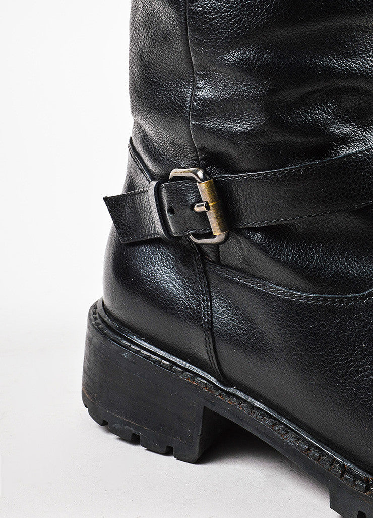 Black Fendi Leather Fur Lined Lug Sole Mid Calf Buckled Moto Boots Detail