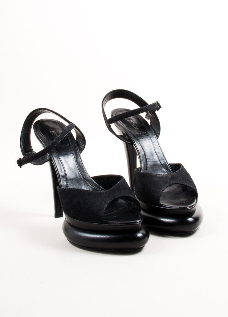 Fendi Black Suede Leather Oversized Platform Peep Toe Sandals Frontview