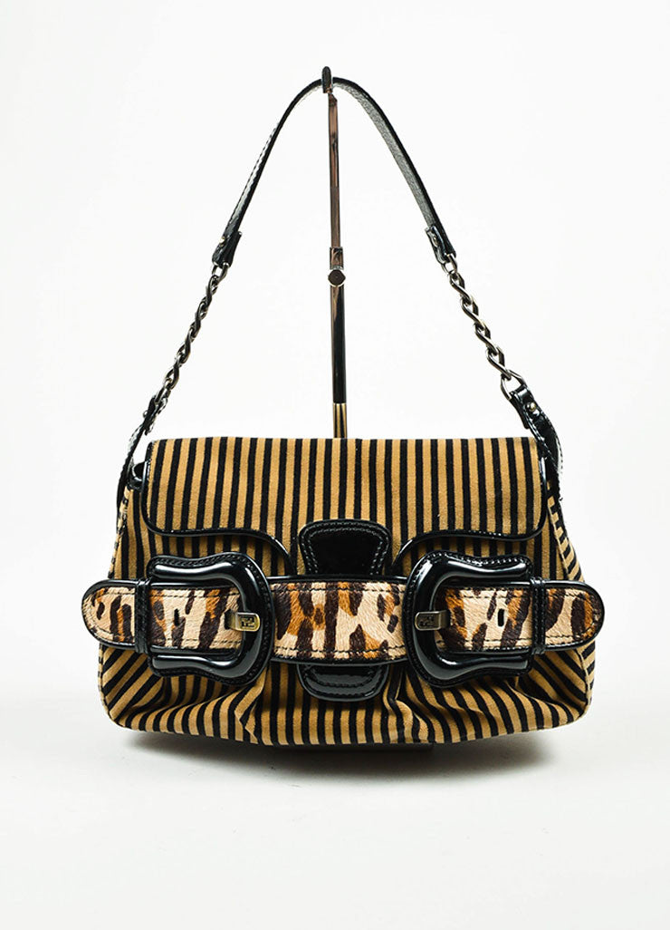 "Brown, Black, and Beige Fendi Leather and Velvet Striped and Leopard ""B"" Shoulder Bag Frontview"