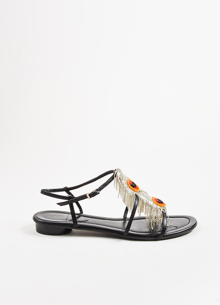 Fendi Black Leather Red and Silver Beaded Chain Fringe Sandals Sideview