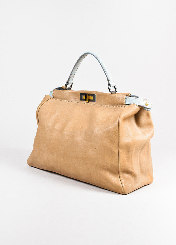 "Fendi Selleria Tan and Light Mint Green Leather ""Large Peekaboo"" Bag Sideview"
