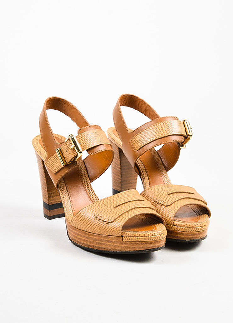 Tan Fendi Embossed Leather Buckle Strap Platform Heel Sandals Front