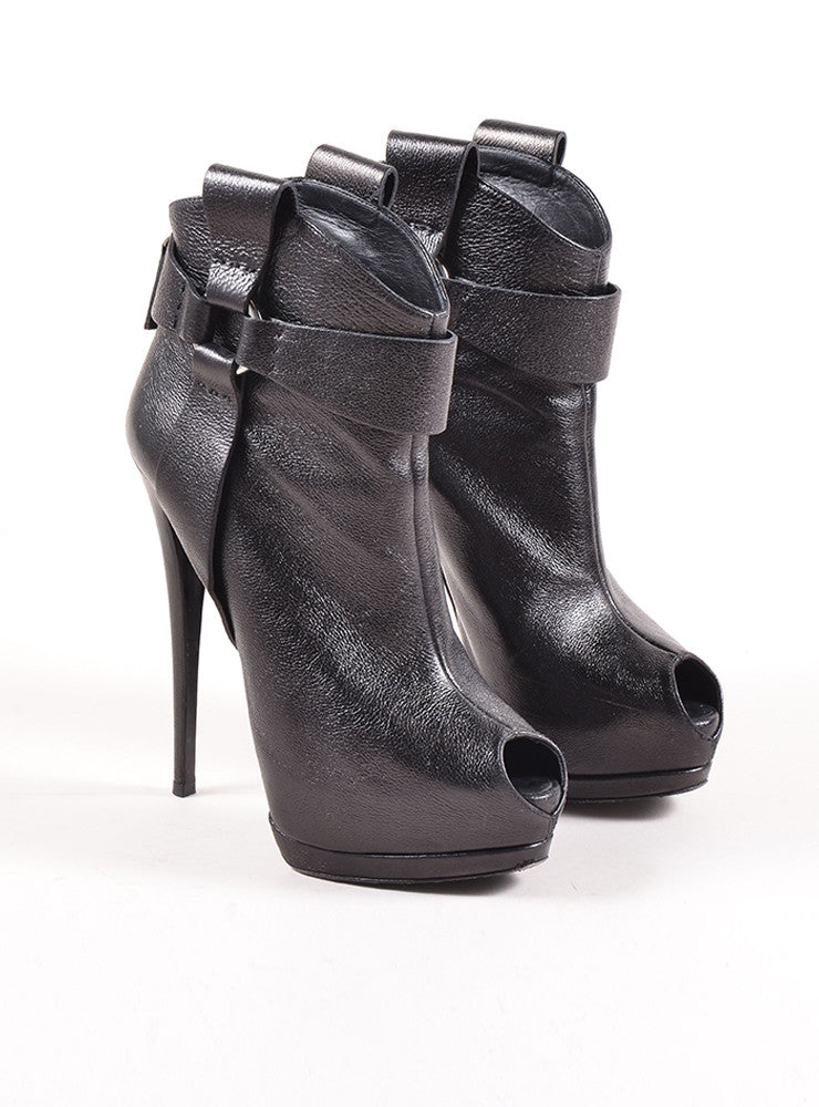Giuseppe Zanotti Black Leather Peep Toe Platform Ultra High Heel Booties Frontview