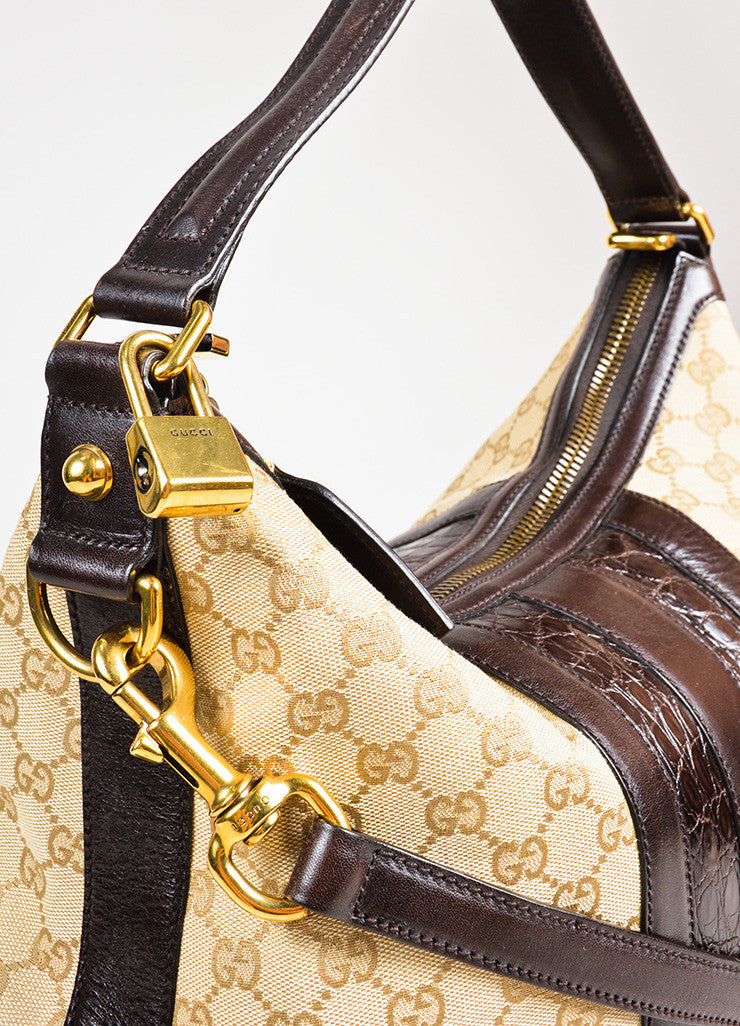 "Gucci Tan GG Logo Canvas Brown Crocodile Leather ""Secret Medium Hobo"" Bag Detail 2"