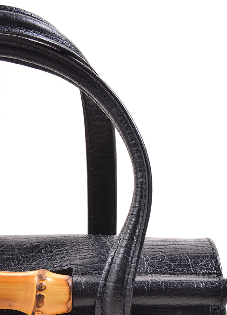 Gucci Black Canvas Leather Monogram Bamboo Detail Bullet Mini Satchel Bag Detail 2