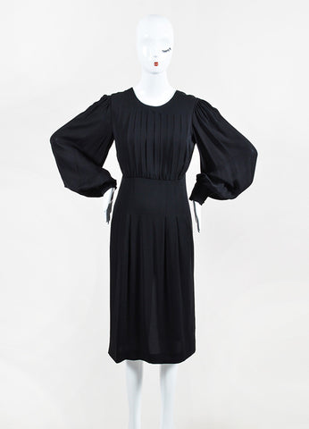 Gucci Black Silk Pleated Button Cuff Long Sleeve Dress Frontview