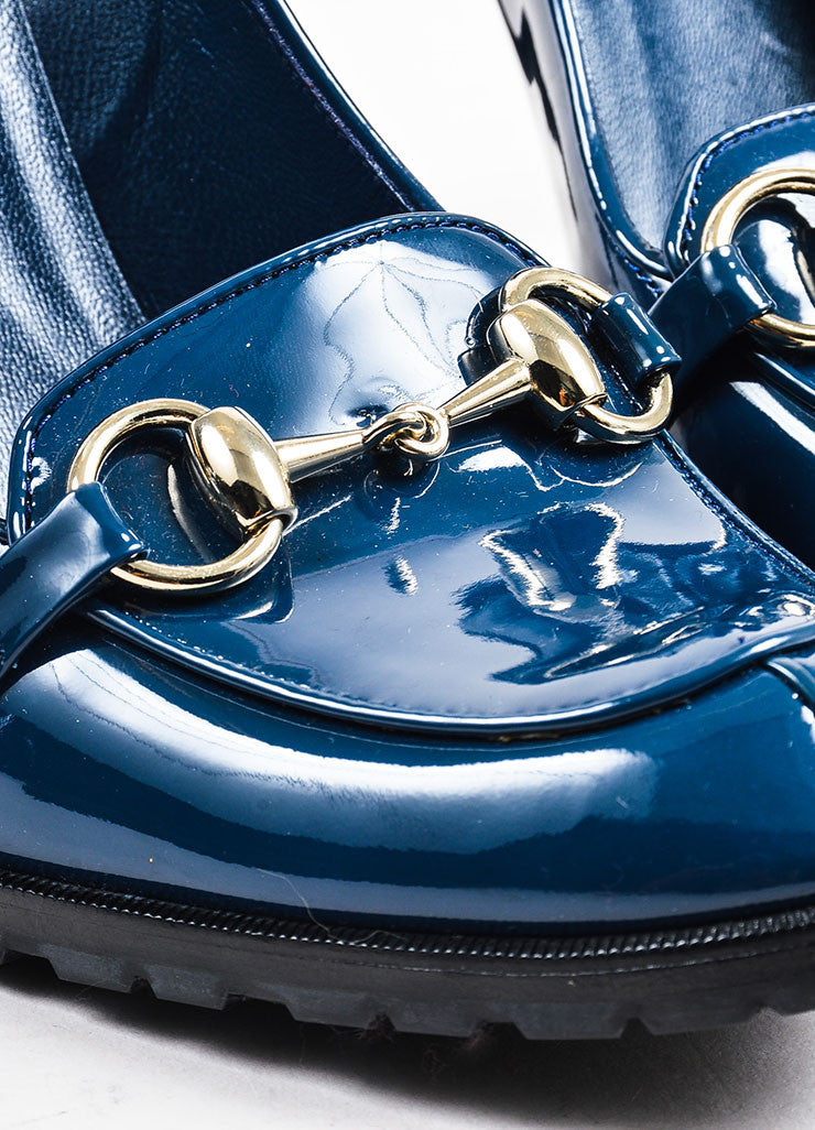Gucci Blue Patent Leather High Heel Horsebit Loafer Pumps Detail