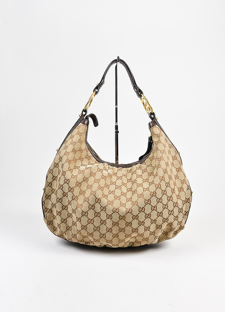 "Brown and Tan Gucci Canvas Leather 'GG' Monogram ""Interlocking"" Medium Hobo Bag Frontview"