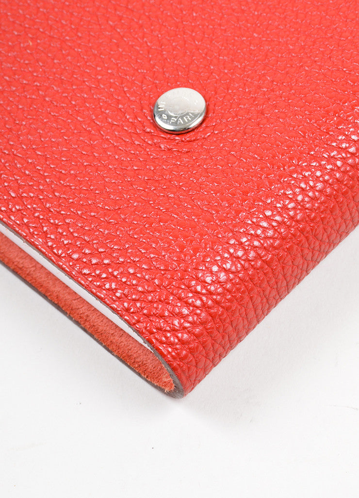 "Red Togo Leather Hermes ""Ulysse MM"" Snap Agenda with Paper Detail"