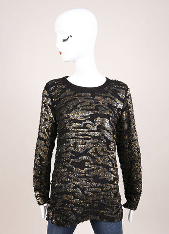 Isabel Marant New With Tags Black Silk Metallic Gold Sequin Tunic Top Frontview