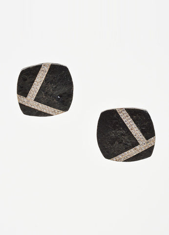 Black Steel, 14K Gold, and Diamond Jaclyn Davidson Square Clip On Earrings Frontview