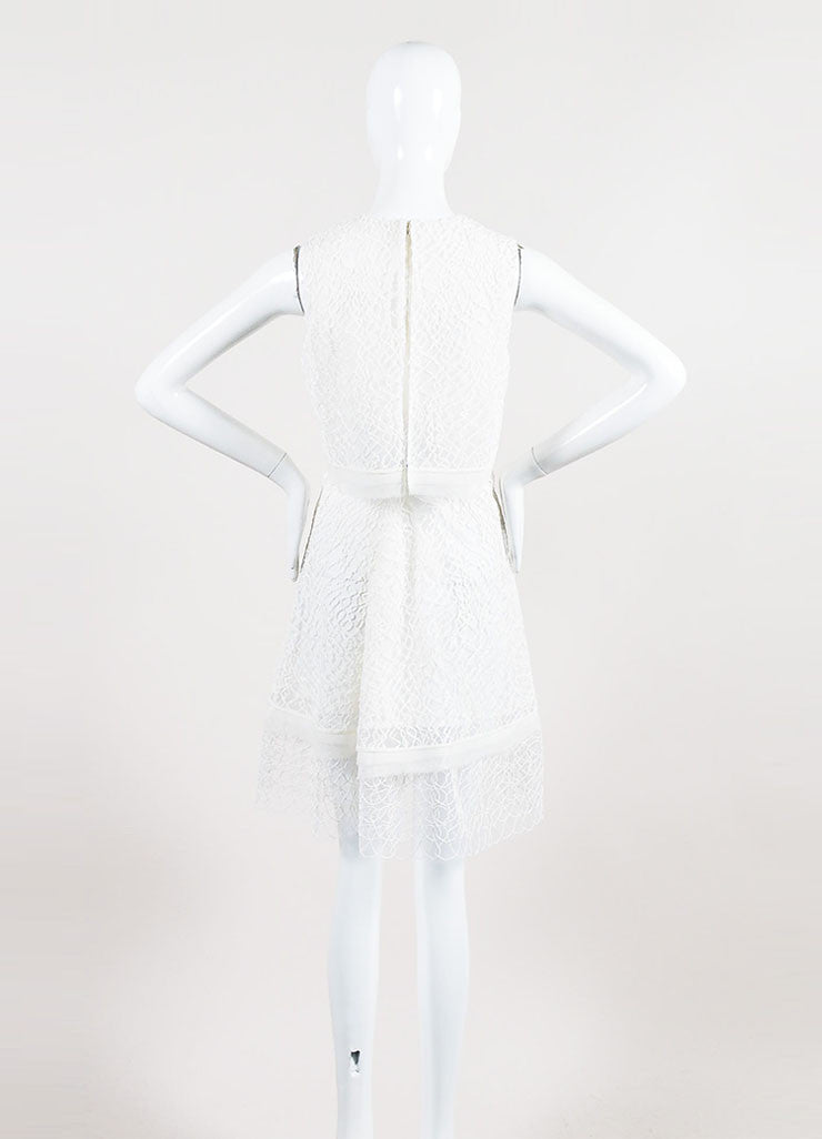White Jonathan Simkhai Embroidered Lace Layered Cape Back Dress Backview