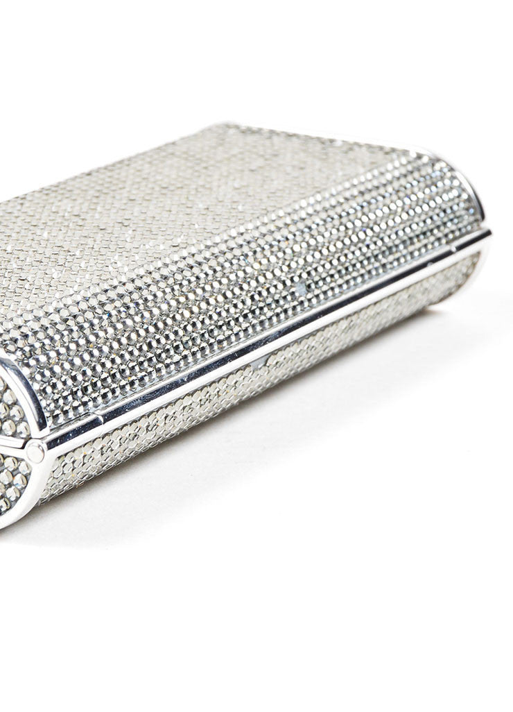 Silver Judith Leiber Rhinestone Embellished Minaudiere Clutch Bag Bottom View