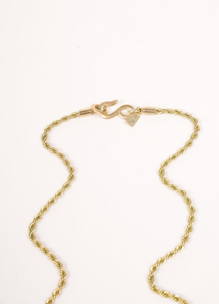 Kenneth Jay Lane Gold Toned and Red Chain Crystal Embellished Apple Pendant Necklace Closure