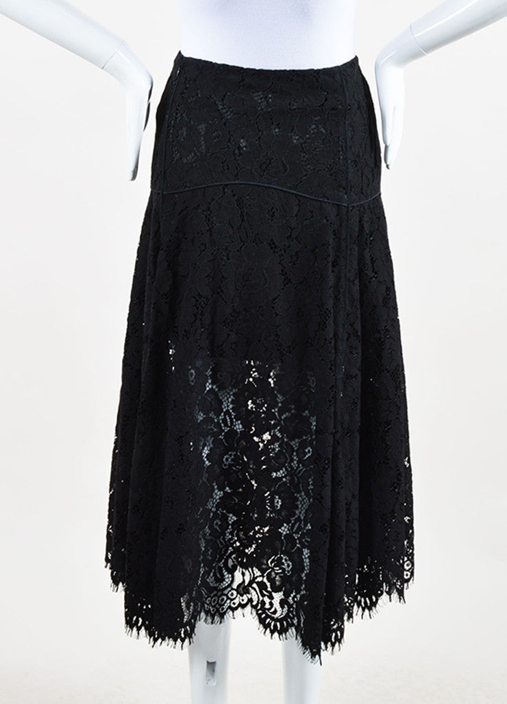 Veronica Beard Black Lace Cotton Scalloped Edge Flare Skirt Backview