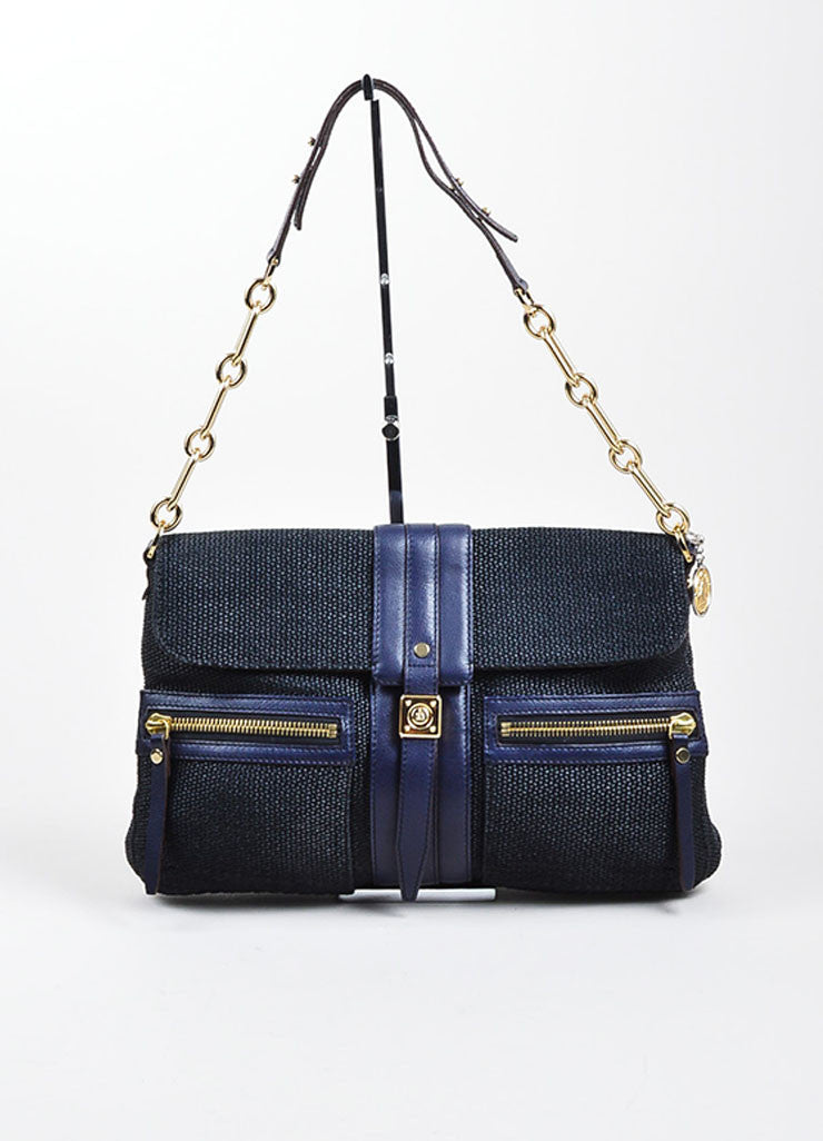 "Black and Navy Blue Lanvin Woven Leather ""Hero"" Chain Shoulder Bag Frontview"