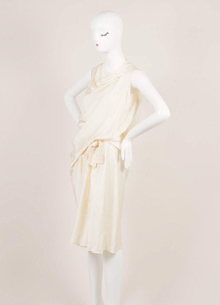 Lanvin Cream Silk Textured Draped Bow Sleeveless Dress Sideview
