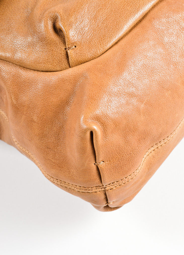 "Lanvin Brown Grained Chevre Leather Bow Chain ""Happy"" Shoulder Bag Detail"
