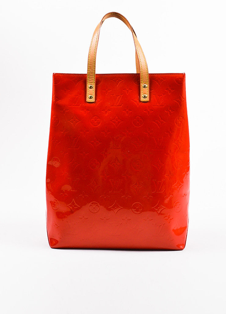 "Louis Vuitton Red Vachetta and Vernis Leather Monogrammed ""Reade MM"" Tote Bag Frontview"