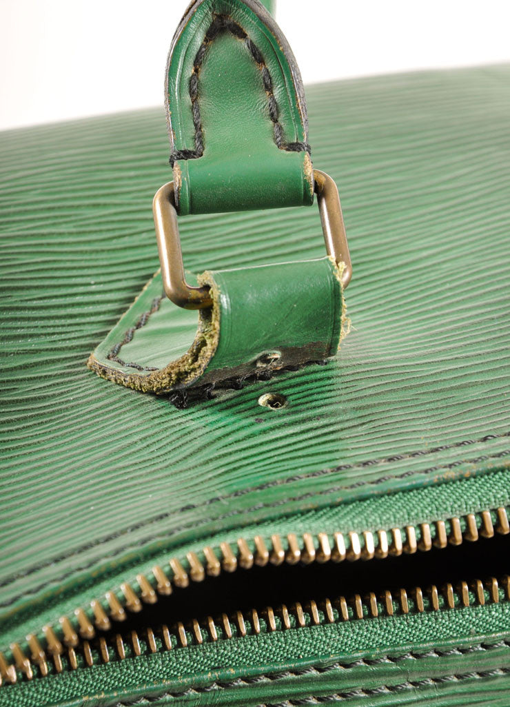 "Louis Vuitton Green Epi Leather ""Speedy 35"" Satchel Handbag Detail 4"