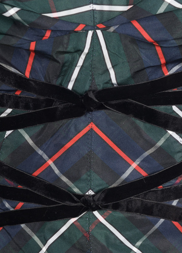 Louis Vuitton Green, Navy, and Black Silk and Velvet Plaid Cropped Bustier Top Detail