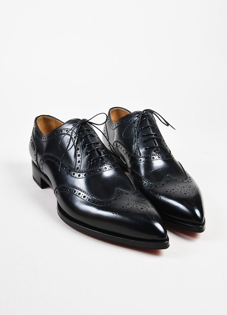"Men's Christian Louboutin Black Longwing Brogue ""New Platers"" Shoes Frontview"
