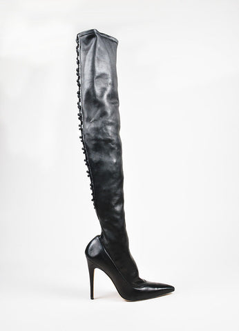 å´?ÌÜManolo Blahnik Black Leather Lattice Back Thigh High Stiletto Boots Sideview