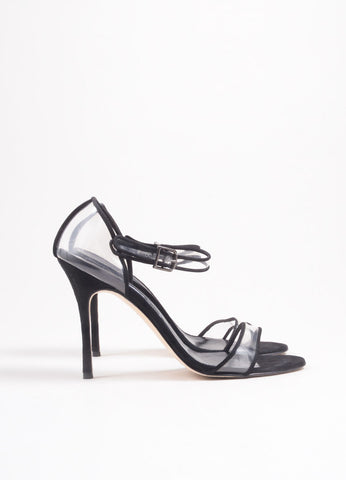 "Manolo Blahnik Black Suede and PVC ""Fersen"" Heeled Sandals Sideview"