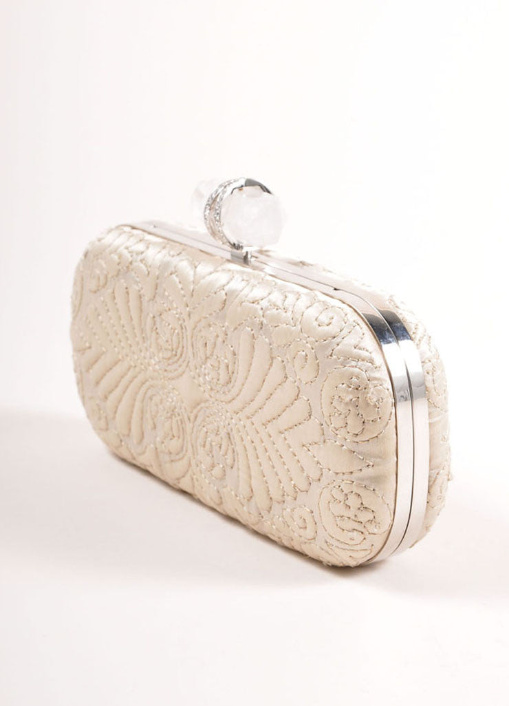 "Marchesa Beige ""Oyster"" Embroidered Satin Quartz Latch ""Lily"" Clutch Bag Sideview"