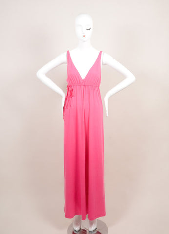 "Miguelina New With Tags Pink ""Elisa"" V-Neck Jersey Maxi Dress Frontview"
