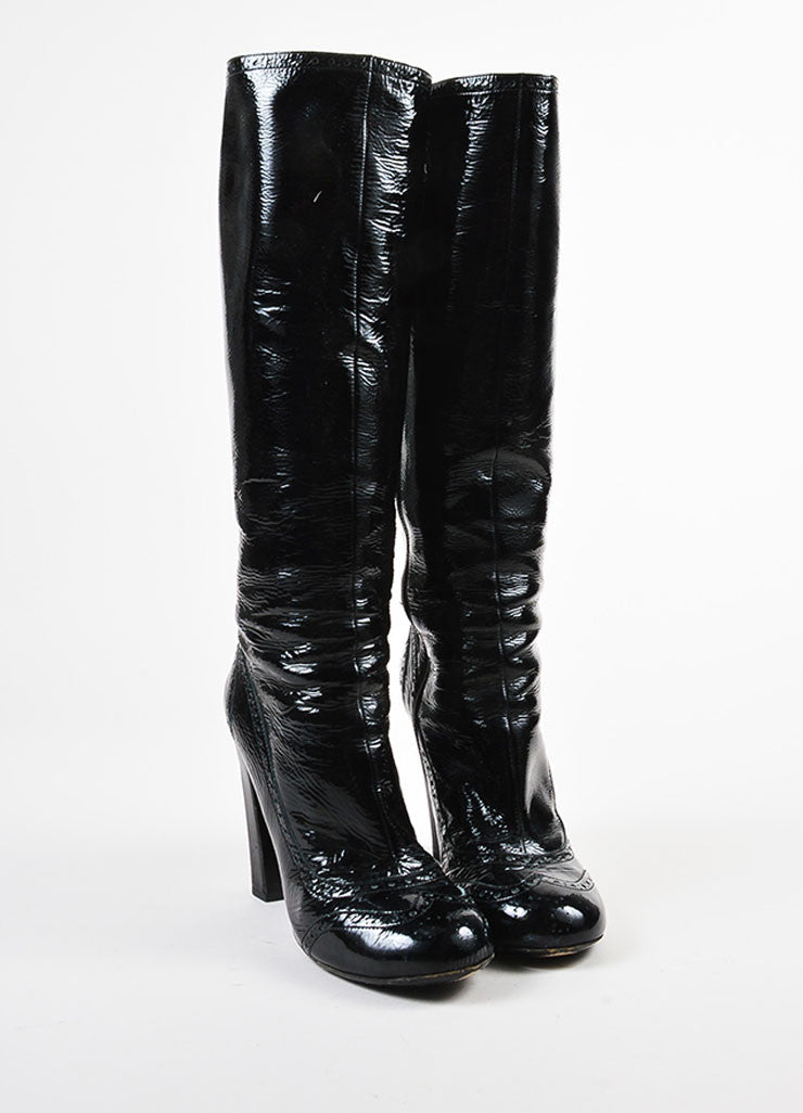 Miu Miu Black Crinkled Patent Leather Perforated Tall Boots Front