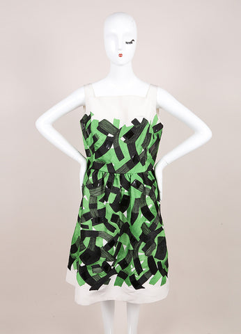 Oscar de la Renta Green, Black, and Cream Brushstroke Stitched Sleeveless Silk Dress Frontview