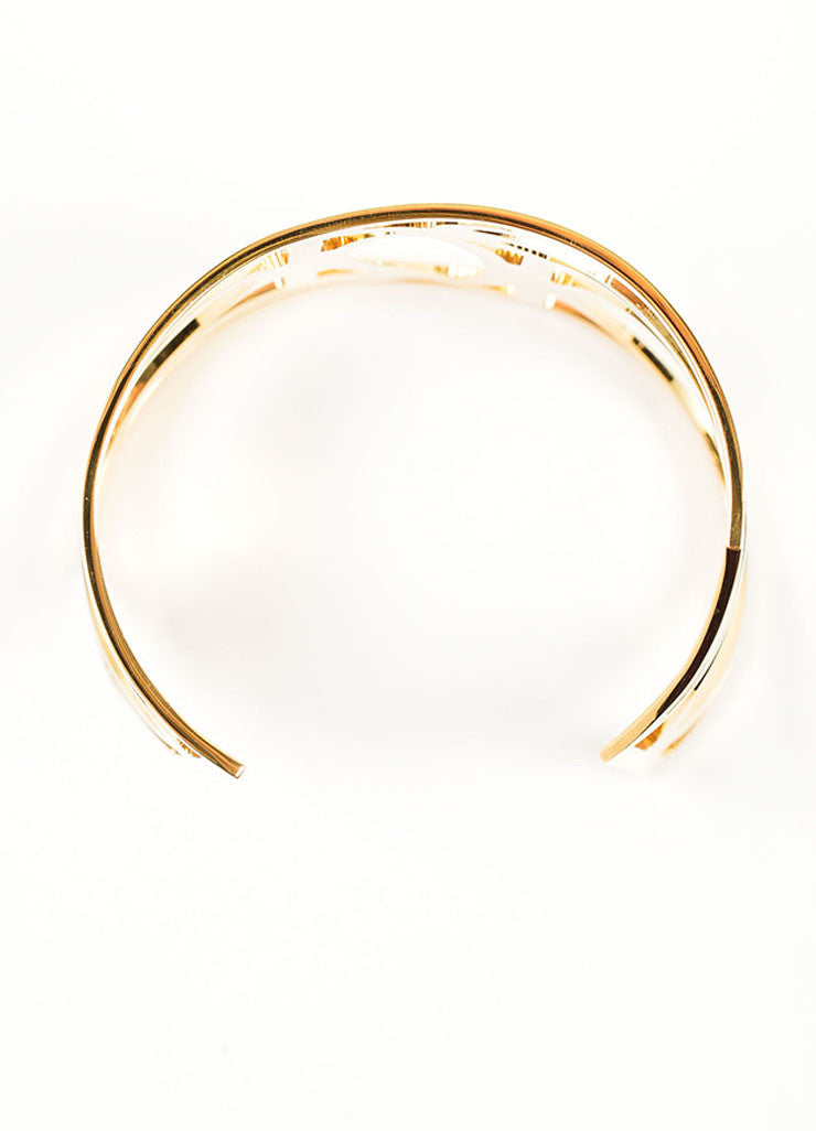 Gold Toned Brass Pierre Hardy Geometric Cut Out Cuff Bracelet Topview