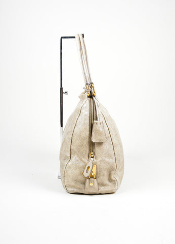 """Craquele"" Gray Prada Distressed Goatskin Leather Hobo Tote Bag Sideview"