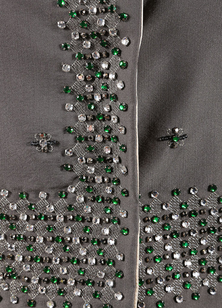 Prada Grey and Green Wool and Silk Floral Beaded Rhinestone Jacket Detail